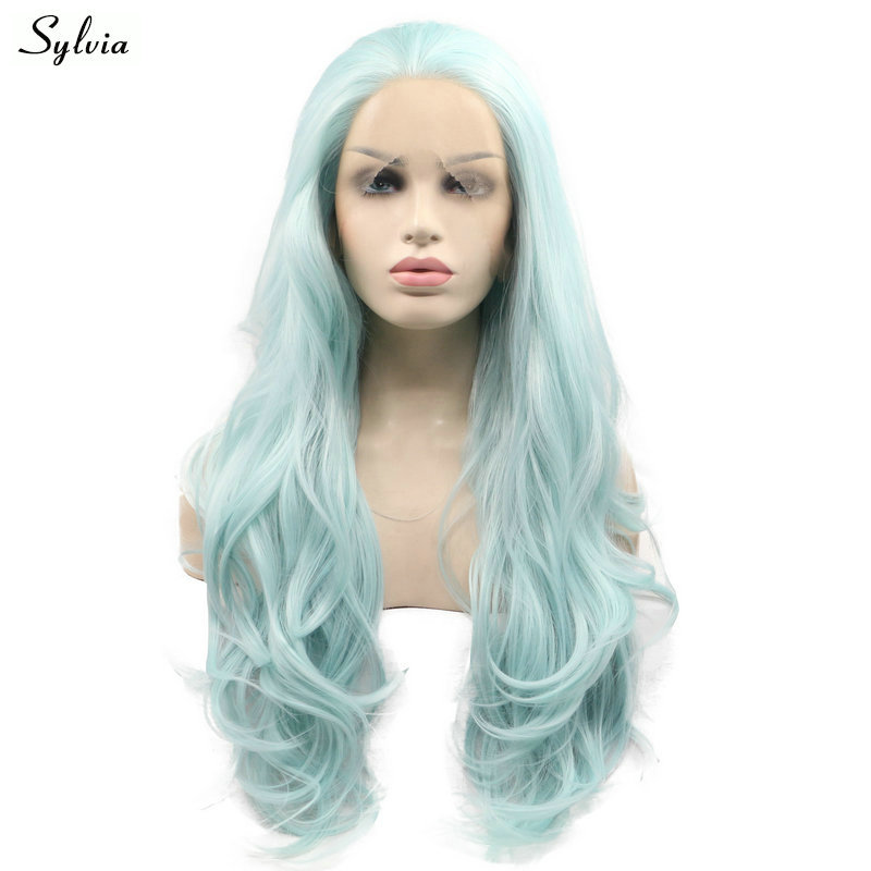 Sylvia Blue Green Mixed Color Wavy Hair Heat Resistant Synthetic Lace Front Wigs Free Part Long Hair for Women Natural Hairline