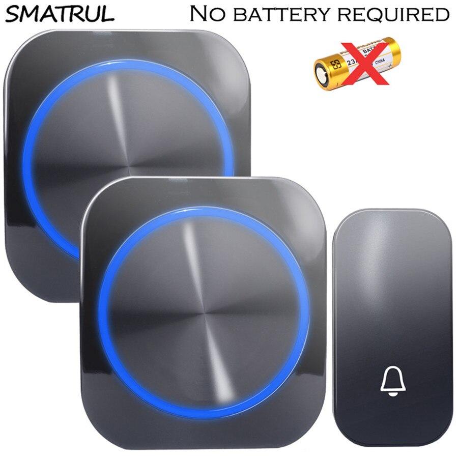 SMATRUL auto alimenté Étanche sonnette de porte sans fil carillon d'anneau nuit lumière sans batterie UE plug Sonnette 1 bouton 1 2 Récepteur 150 M