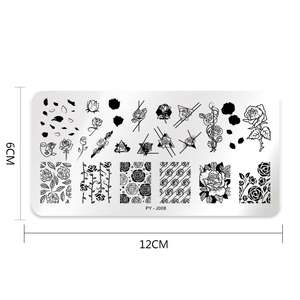 Image 5 - PICT sizin tırnak damgalama plakaları gül çiçek desenleri dikdörtgen tabaklar görüntü geometrik damga şablonları tırnak sanat şablon plaka