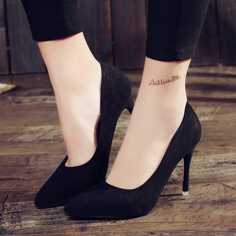 2017 HOT Women Shoes Pointed Toe Pumps Suede Leisure Dress Shoes High Heels Boat Wedding tenis feminino 10cm