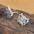Handmade Thai Pure Silver Butterfly Earrings Vintage 925 Silver Butterfly Earring Real Sterling Silver Women Earring