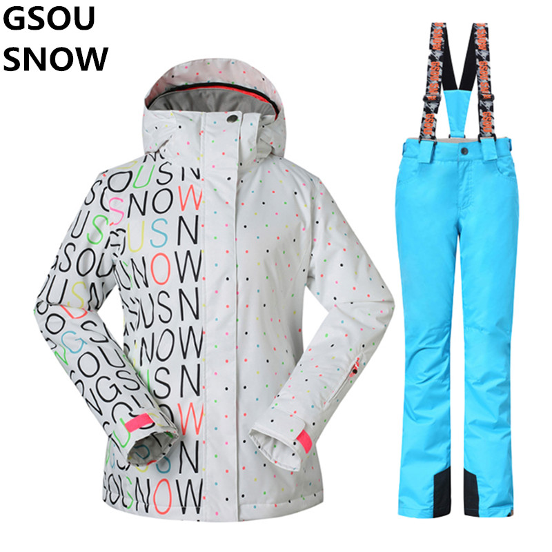 GSOU SNOW -30 Degree Warm Women Ski Suit Female Snowboarding Suits Waterproof 10K breathable Ski jacket + snow Pants Outdoor brand gsou snow technology fabrics women ski suit snowboarding ski jacket women skiing jacket suit jaquetas feminina girls ski