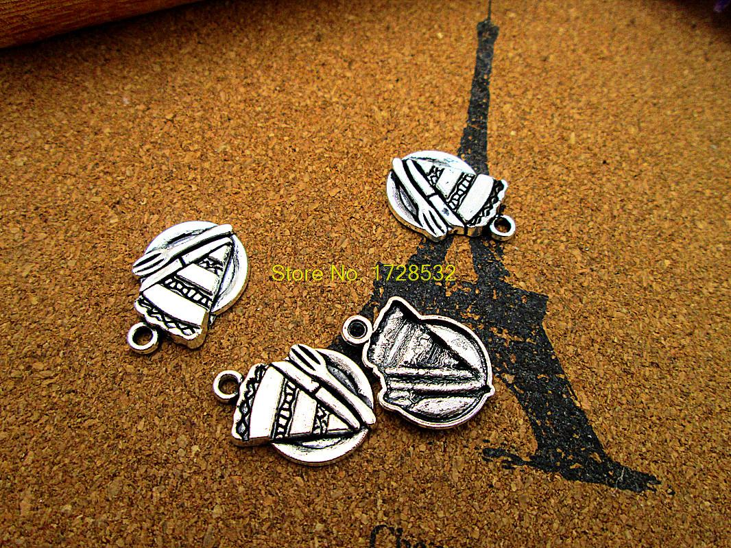 100pcs Piece Of Pie On Plate Charms Silver Tone Fork Charm Pendants 21x14mm Soft And Antislippery