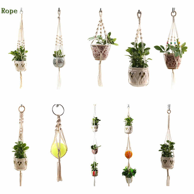 10styles Vintage Macrame Plants Hanger Hook Flower Pot Holder 4 Legs String Hanging Rope Wall Art Home Garden Balcony Decoration