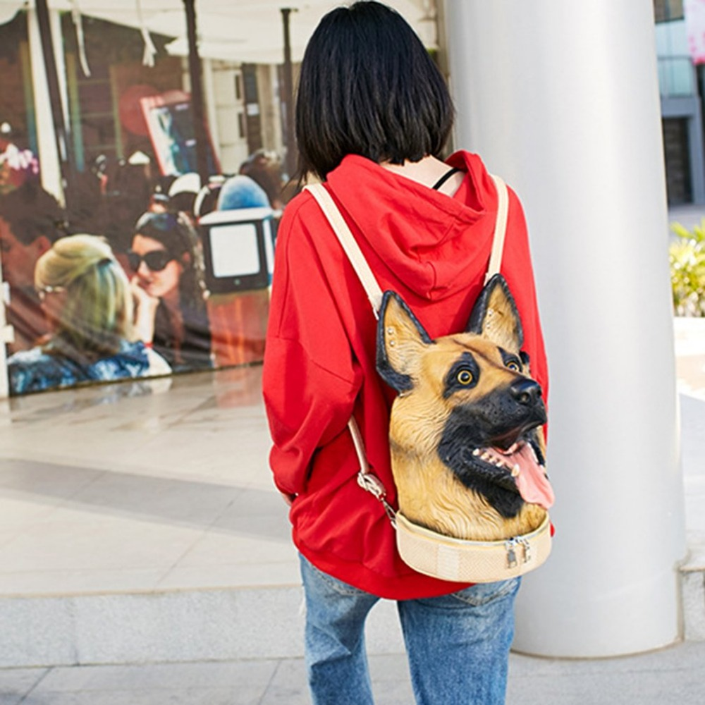 New Special 3D Dog Head Backpack Men Women Backpack Soft PU Leather Double Zipper Travel Backpack School Bag Creative Gift цена 2017