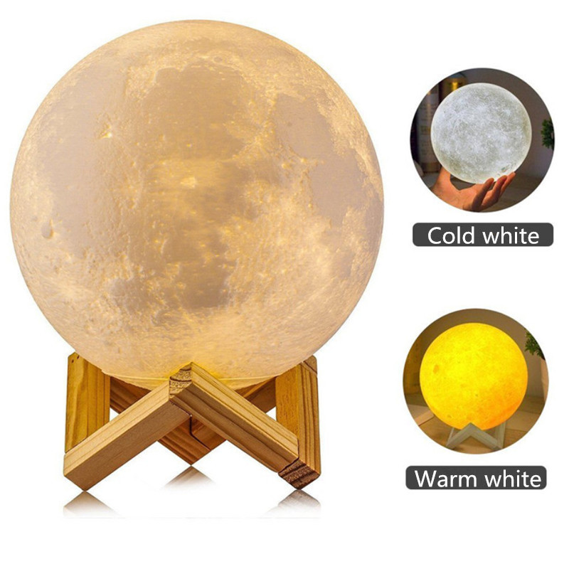 ZjRight 8cm 15cm Rechargeable 3D Print Moon Lamp 2 Color Change Touch Switch Bedroom Bookcase Night Light Home Decor gift lights usbrechargeable 3d print moon lamp yellow red change touch switch bedroom bookcase night light home decor creative birthday gift