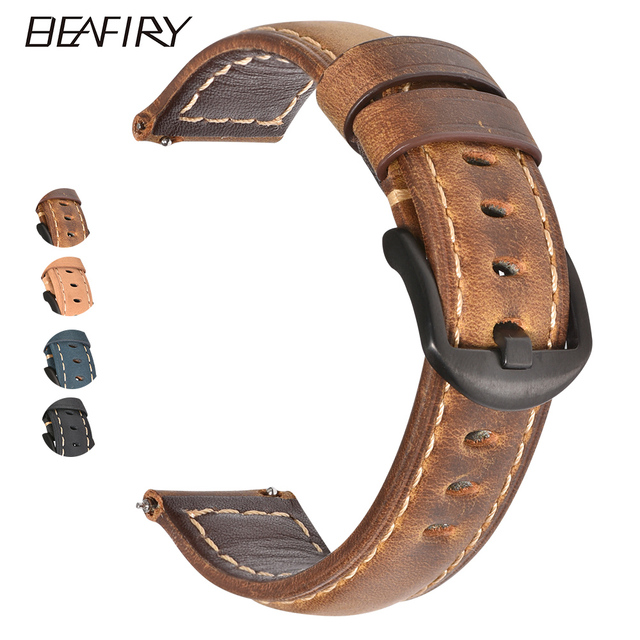 BEAFIRY Crazy Horse Calfskin Leather Watch Band 20mm 22mm 24mm Straps Watchbands Dark Brown Light brown Black Blue Green Belt