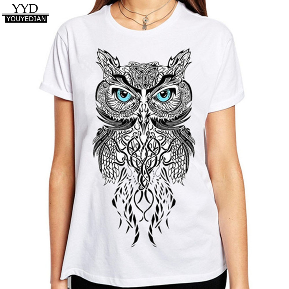 Harajuku 2017 hot sale summer owl print new design women t New designer t shirts