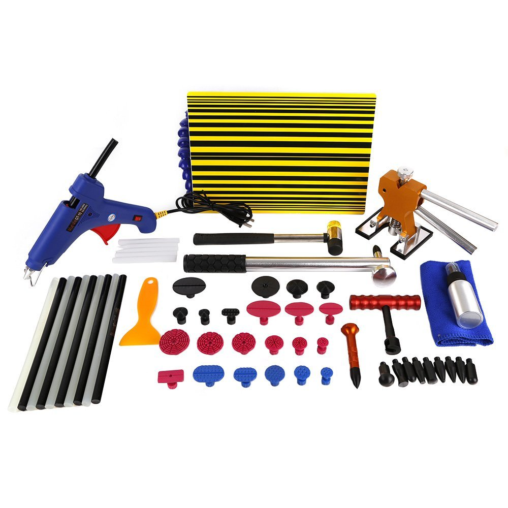 PDR Tool Kit for Pop a Dent, 57PCS Car Repair Kit PDR Tools,PDR Line Board Dent Lifter Set Glue Stricks Pro Pulling Tabs Kit  pdr rods kit with slider hammer dent lifter bridge puller set led line board glue stricks pro pulling tabs kit for pop a dent