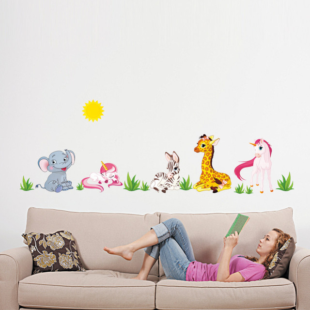 cartoon animals forest elephant horse wall stickers decals for kids