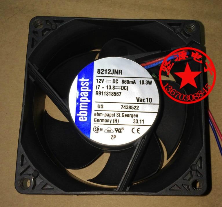 ebmpapst 8212JNR DC 12V 10.3W 80x80mm Server Square fan 2-wire ebmpapst typ 3956 typ3956 dc 223 230v 9 11w 2 pin server square fan
