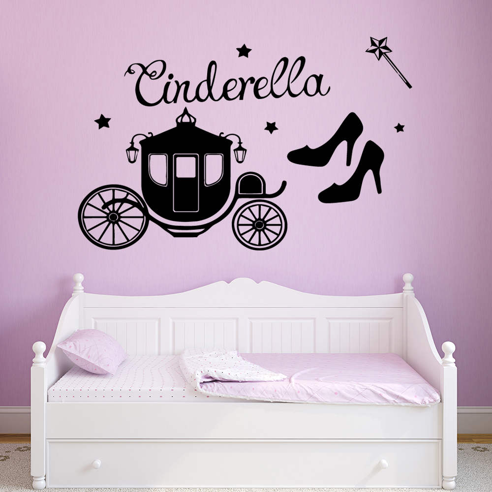 Cinderella Wall Sticker Removable Wall Stickers Decor Diy Wallpaper For Living Room Bedroom Decoration Murals in Wall Stickers from Home Garden