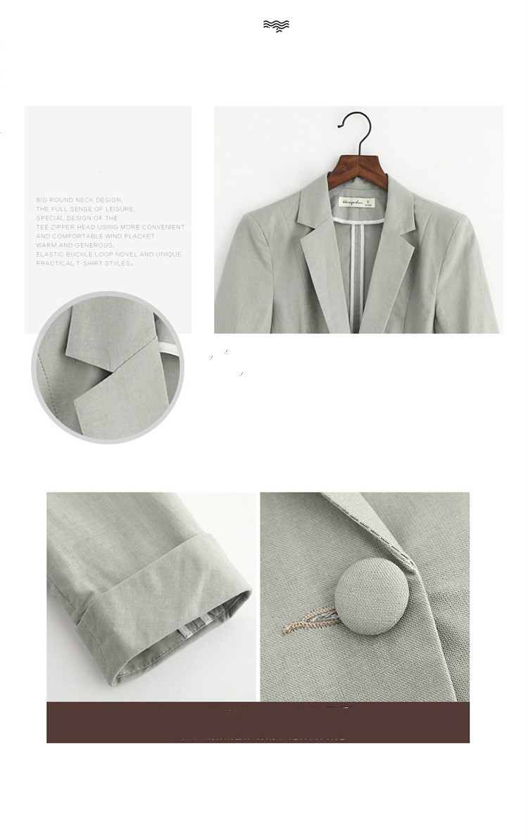 2019 New Spring Korean Leisure Suit Slim Women OL Office Lady Cotton Linen Blazer Jacket