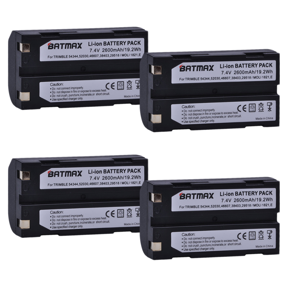 4Pcs 7.4V 2600mAh Battery akku 54344 for Trimble 54344, 29518, 46607, 52030, 38403, R8, 5700, 5800, R6, R7, R8, Pentax D-LI1