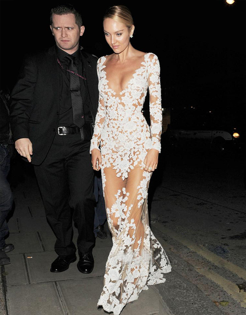 New design red carpet celebrity dress sexy see through - Designer red carpet dresses ...