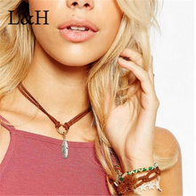 L&H  2018 New femmes Necklace Vintage Ethnic Feather Round Alloy Leather Chain Pendant For women fashion jewelry Gift