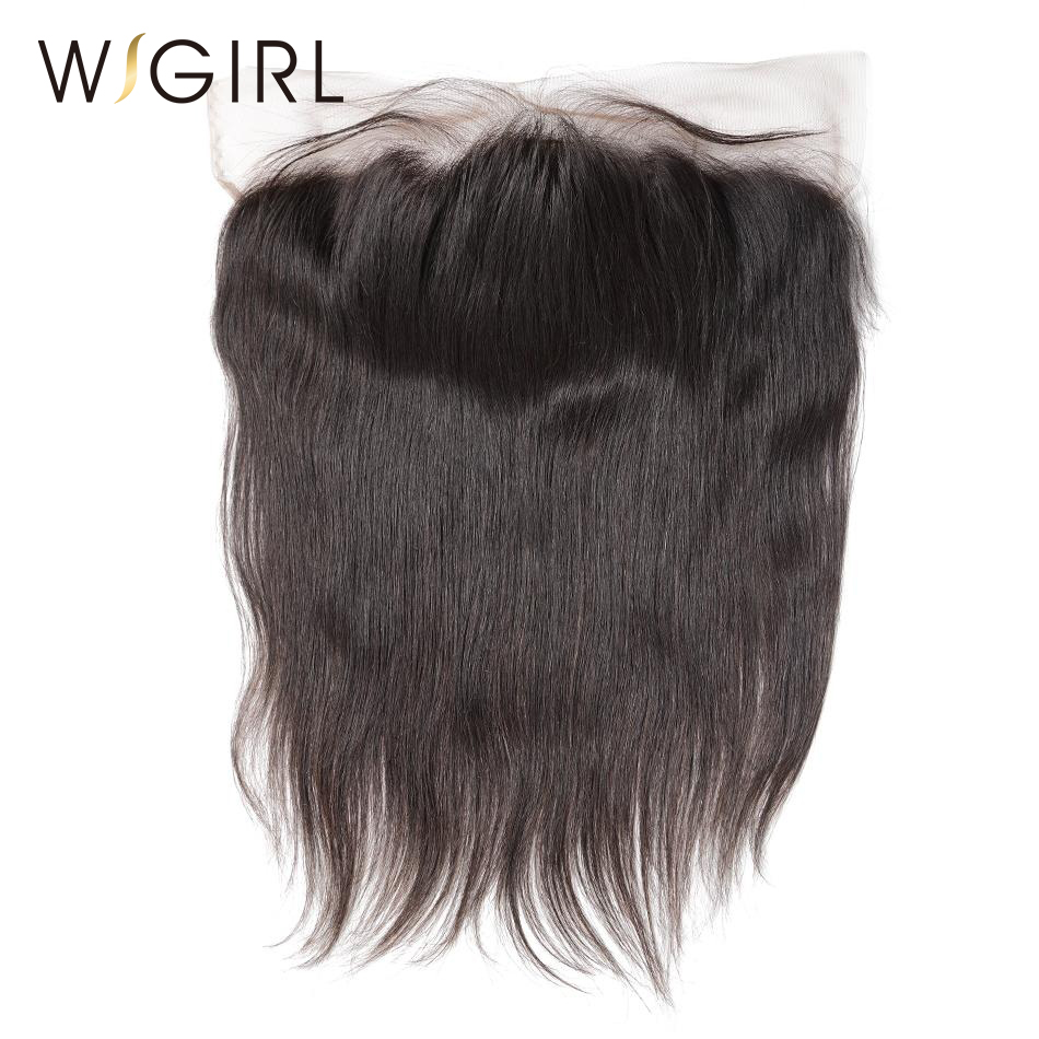 Wigirl Brazilian Straight Virgin Hair 13x4 Lace Frontal Closure Knots Bleached with Baby hair 100 Human