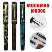 Moonman M600s Acrylic Fountain Pen Iridic Fine Nib Fashion Gift Writing Ink Pen with Gift Box Set For Business Office Student