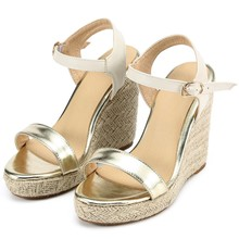 Retro Wedges Shoes For Women Open Toe Ankle Platform Beach Gold White Sandals Plus Size Weave High Heels Buckle-Strap Roman Shoe karinluna popular women sandals ankle strap buckle small bowtie crystal bordered wedges open toe platform party shoes for women