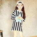 black white striped little big girls sweatshirt t shirts dress Pentagram pattern long sleeve tops t-shirt kids dresses clothes
