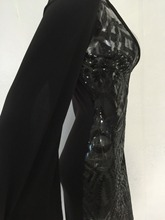 OMILKA Sexy Club Dress 2017 Women Long Sleeve Cloak Cape Bodycon Sequin Dress Sexy Black Deep V Neck Party Club Sequined Dress