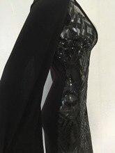 OMILKA Sexy Club Dress 2017 Women Long Sleeve Cloak Cape Bodycon Sequin Dress Sexy Black Deep V Neck Party Club Sequined Dress