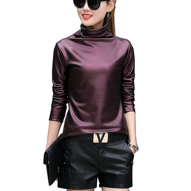 Plus tamaño 4XL camisetas de las mujeres harajuku sexy de manga larga de Cuello Alto terciopelo camiseta superior femenina ropa americana de Cuero de LA PU t camisa
