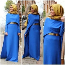 Robe De Soiree Arabic High Neck Long Sleeve Evening Dress With Hijab Sashes 2016 Muslim Dubai Kftan Long Formal Evening Gown