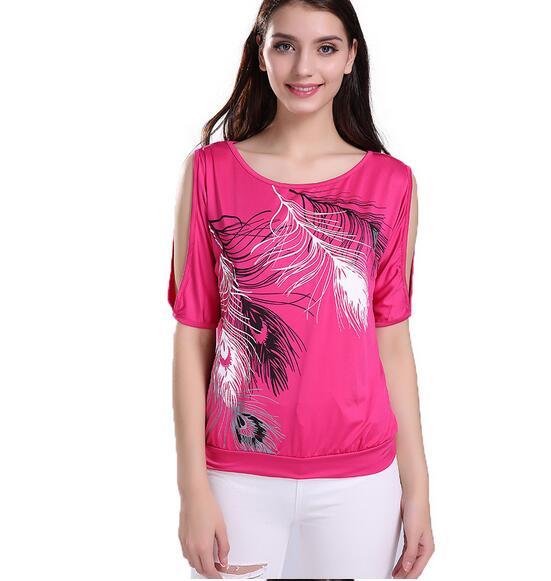 HTB1PQcJQpXXXXafaXXXq6xXFXXX1 - Summer Women Feather Printed T-shirts O- neck Strapless Shirts Off Shoulder
