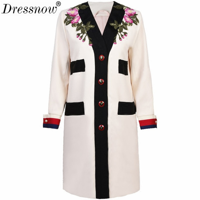 Dressnow Women Runway Designer Luxury Trench Coat Ladies V Neck Single Breasted Vintage Embroidery Flower Long Coat Beige