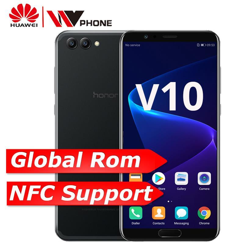 Huawei Honor V10 4G 6 4G оригинальный мобильный телефон Octa Core 5,99 дюймов 3750 мАч 1080×2160 P двойной сзади отпечаток пальца камеры ID NFC