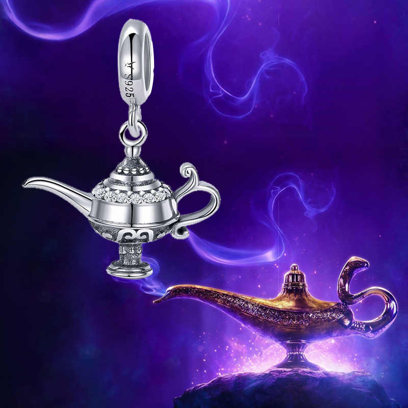 100/% Genuine 925 Sterling Silver Aladdin/'s Magic Lamp Charm fit Women Bracelet /& Necklaces DIY Jewelry Making