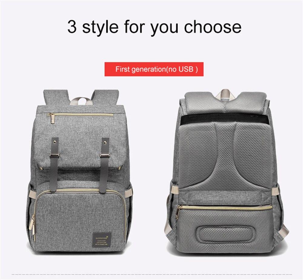 HTB1PQcpaojrK1RkHFNRq6ySvpXaK Fashion Large Capacity Baby Nappy Bag Diaper Bag Purse Multifunction USB Mummy Travel Backpack Women Nursing Bags For Mom Daddy