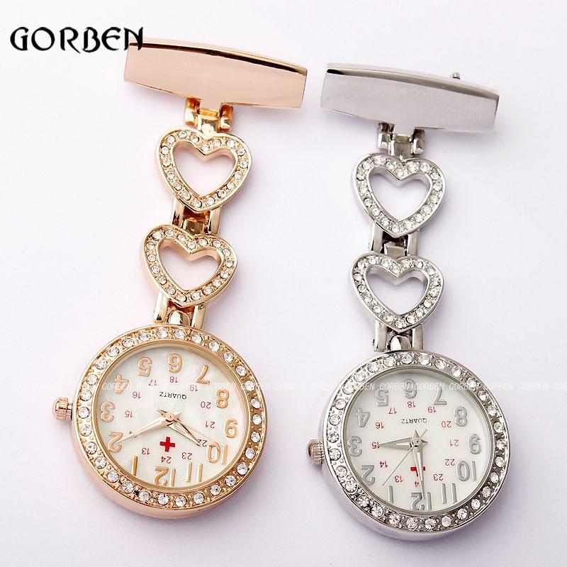 2018 Perawat Mewah Jam Saku Womens Chic Jantung Stainless Steel Kristal Vintage Gaun Pocket fob Jam Tangan Wanita reloj colgante