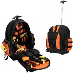 Mochila de herramientas, bolsa multifuncional para herramientas, caja de herramientas de electricista, Estuche De Viaje Universal de múltiples bolsillos, bolsas de herramientas a prueba de agua con carrito