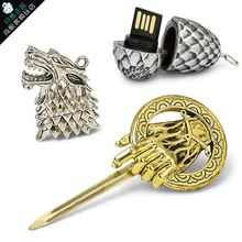 New Fashion Game of Thrones Stark Sigil Direwolf USB Flash Drive Key Chain Ring Movie Jewelry Winter is Coming Keychain Gift