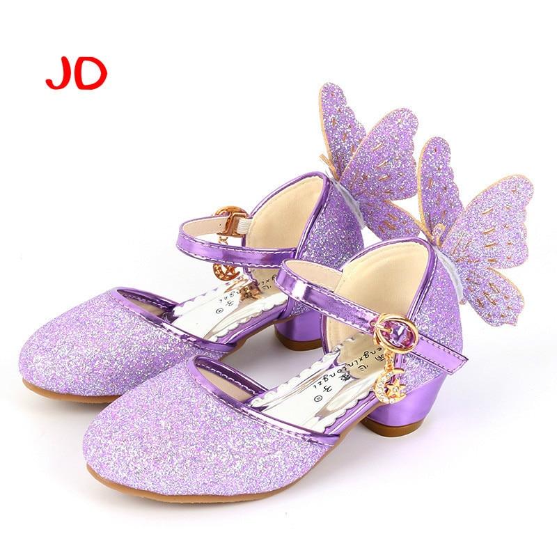 Girl Wing Single Shoe High-heeled Girls Shoes Princess Children Student Performance Dance Shoe Fashion