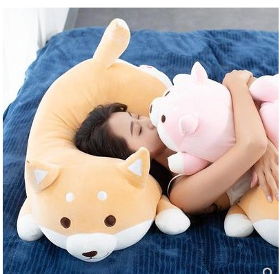 Free Shipping 1pcs  35/55cm Stuffed Plush Soft Kawaii Fat Shiba Inu Dog    Cartoon Pillow For Children Girlfreind Birthday Gift