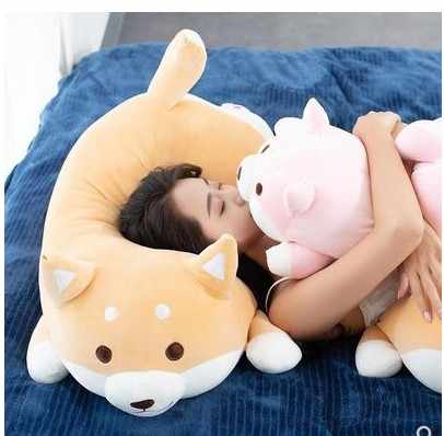 Envío gratis 1 piezas 35/55cm de peluche de Kawaii gordo Shiba Inu perro de dibujos animados almohada para niños novia regalo de Cumpleaños