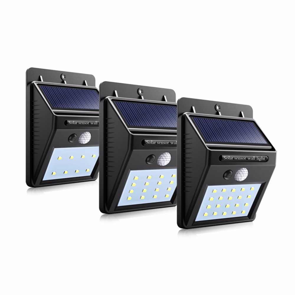 Светодио дный движения PIR Солнечный свет Сенсор энергосберегающие лампы на стенах солнечные огни безопасности Водонепроницаемый IP65 открытый сада Путь Света