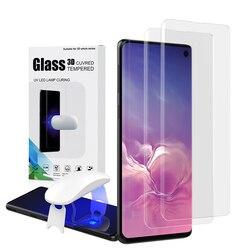 Protetor de tela com impressão digital desbloquear para samsung galaxy s10 uv filme vidro capa completa para s10 + s10 5g vidro temperado