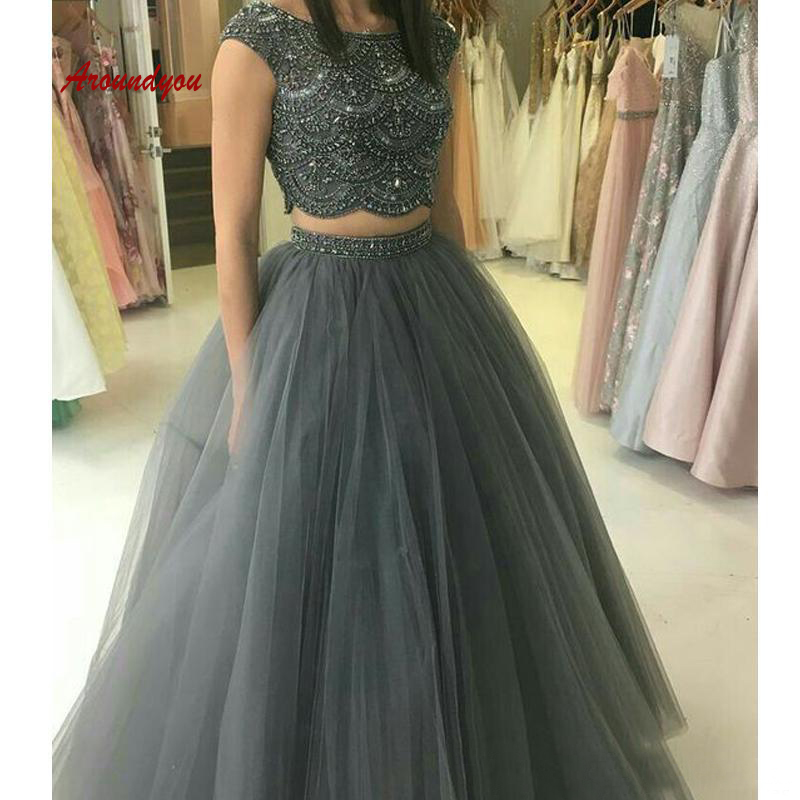 Sexy Grey Long Evening Dresses Party Sexy Two 2 Piece Plus Size Women Ladies Prom Formal Dresses Evening Gown