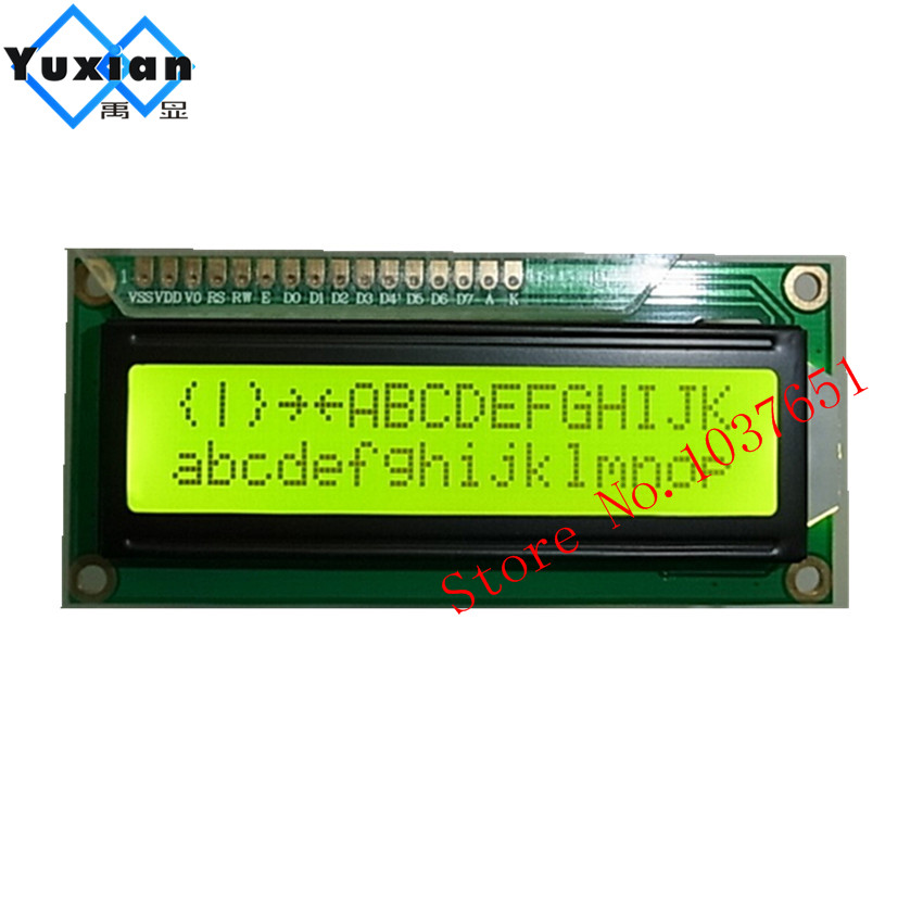 100pcs lot 1602 16 2 1602A lcd display module STN yellow green 5v 16pin HD44780 SPLC780D