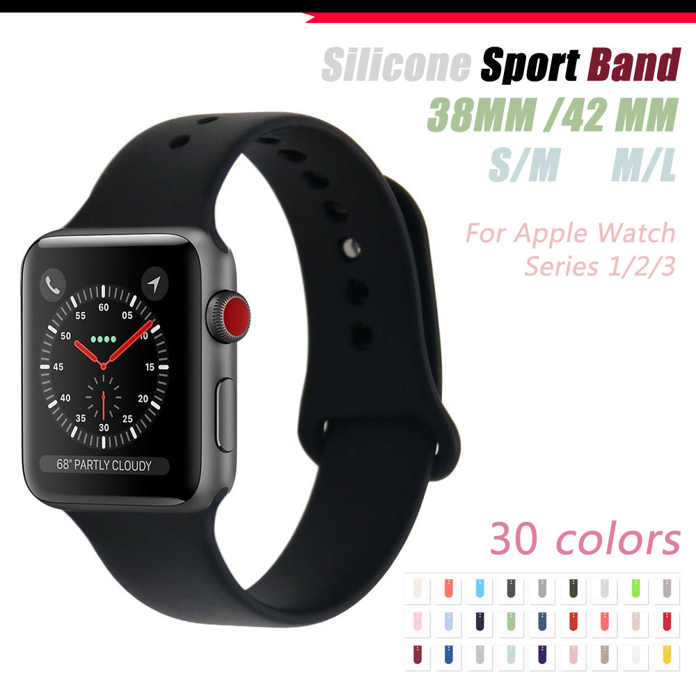Colorful Soft Silicone Replacement Sport Band For 38mm Apple Watch Series1 2 42mm Wrist Bracelet Strap For iWatch Sports Edition jansin 22mm watchband for garmin fenix 5 easy fit silicone replacement band sports silicone wristband for forerunner 935 gps