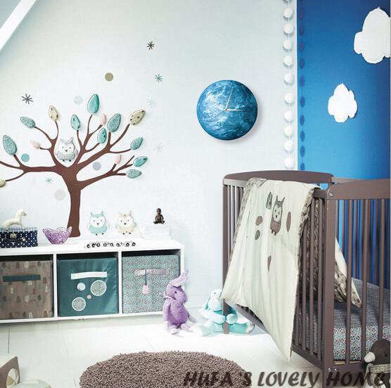 30cm 12 inch Quartz Round Luminous Earth Wall Clock 3D Luminova Glow In The Dark Modern For Kids Room Livingroom Decor