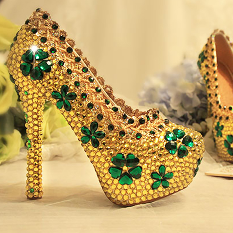 Gold Crystal Pumps Women Wedding Shoes High Heels Platform Bridal Shoes Luxury Shoes Green Rhinestone Sexy