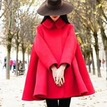 Женский зимний плащ, шерстяное пальто с отложным воротником, свободное ТРАПЕЦИЕВИДНОЕ шерстяное пальто