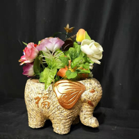 28cm/11.02in 45cm/17.72in Cute Cartoon Durable Home DIY Painting Elephant Shape Statue Plastic Cement Green Planter Mold