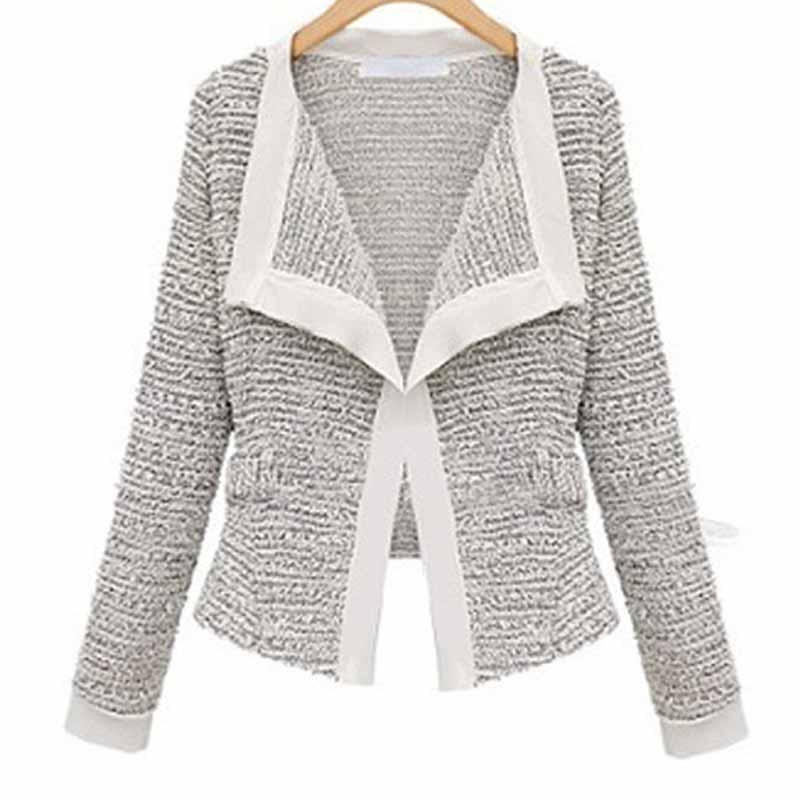 New Women Slim Fit Blazer Coat Patchwork Small Suit Casual Long Sleeve Cardigan Single Breasted Office Lady Elegant Work Blazer