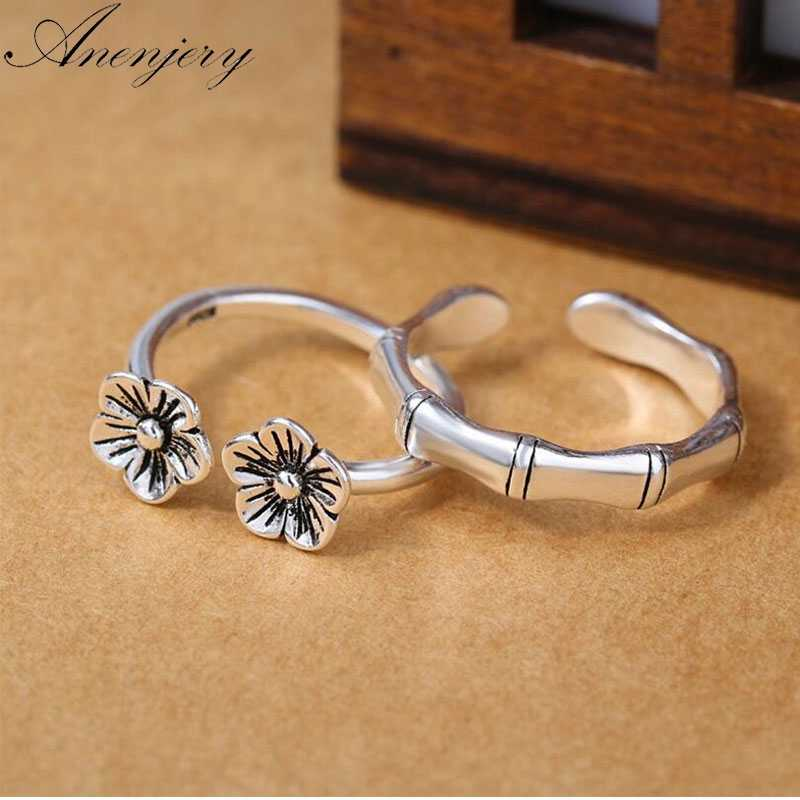 Anenjery Vintage Fashion 925 Sterling Silver Couple Rings Plum Flower Bamboo Opening Rings Thai Silver Jewelry anillos S-R258